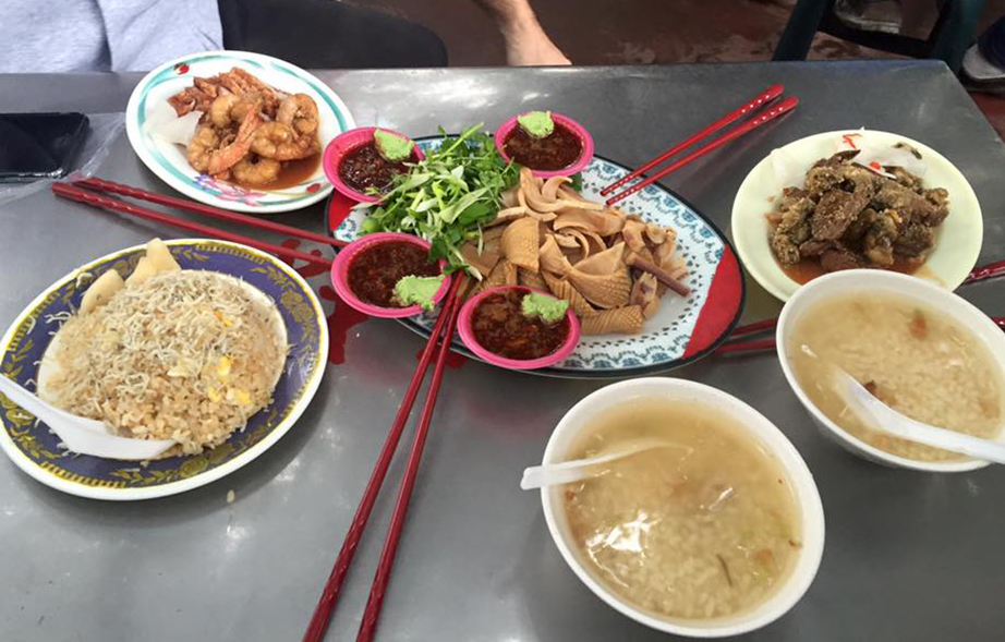 Table set with delicious Taiwanese plates.